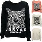 Women Long Sleeve Hoody Owl Printed Casual Hoodie Sweatshirt Sweater Tops JYL