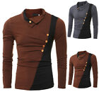 2016 Mens Stylish Muscle Polo Shirts Slim Fit Long Sleeve Casual T-Shirt Tops