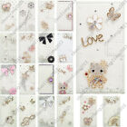 3D Bling Handmade Diamonds White PU Leather Case Skin Cover For Samsung #2