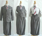 Charcoal/Dark Grey Plaid & Check toddler teen wedding party boy formal 5 pc suit