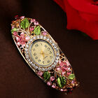 Fashion Women's Lady Crystal Flower Bangle Bracelet Quartz Wrist Watch NEW