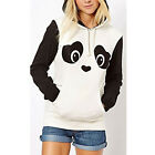 Women's Panda Design Hoodie Coat Jacket Sweatshirts White&Black Tops