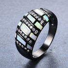 Unqiue White Fire Opal CZ Wedding Promise Band Ring 10KT Black Gold Filled Sz6-9