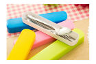 3pcs Portable Travel Cutlery Box Stainless Steel Set Tableware Chopsticks Spoon