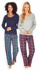 Ladies Long Sleeved 100% Cotton Pyjamas New Womens T-Shirt Check Bottom PJ Set