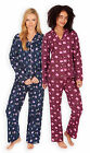 Ladies Classic Button Front PJ Set New Womens Printed Flannel Pyjamas UK 8-22