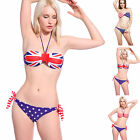 UK US Flag Print Padded Side Tie Bikini Swimsuit Swimwear Beachwear Bahing Suit