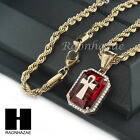 STAINLESS STEEL ICED OUT RUBY ANKH CROSS PENDANT 24