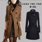 New Korea Womens Trench Slim Fit Wool Blend Coat Double Breasted coat  Jacket