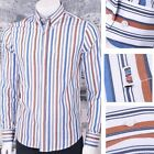 Get Up SLIM FIT Button Down Pocket Tag L/S Candy Stripe Shirt Brown