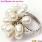 6-7mm Oval Pearl Beads White Gold-plated Adjustable Ring #7-#9 Size Send Random
