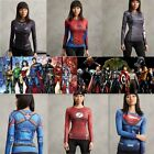 Women Lady Superhero Sport T-shirt Compression Slim Cosplay Costume Running Tops
