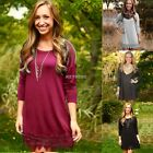 Women Long Sleeve Solid Cotton Lace Blouse Party Tunic Mini Shirt Dress Fashion