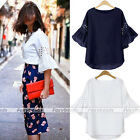 Women Crew Neck Blouse Top Loose Shirt Hollow Flare Half Sleeve Navy Blue/White