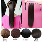 Hot Women Clip In Ribbon Ponytail Pony Tail Hair Wrap On Hair Piece Wig 24""