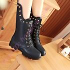 Stylish Woemens Rivets Studden Shoes Punk Motor Riding Lace Up Mid Calf Boots