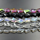Czech Crystal Faceted Nugget Spacer Loose Beads 11x18mm 12pcs Clear Clear AB Jet