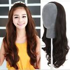 Womens Long Curly Wavy Nature brown black 3/4 Wig Cosplay Costume Daily Wear Wig