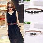 Cool Faux Leather Crystal Alloy Buckle Waist Belt Skinny Dress Waistband 3 Color