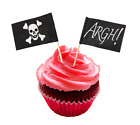 JOLLY ROGER Argh! Black Pirate Flags Cupcake Stand Up Toppers Food Picks UK