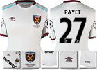 16 / 17 - UMBRO WEST HAM UNITED AWAY SHIRT SS + PATCHES PAYET 27 = KIDS SIZE