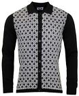 NEW MOD 60s 70s RETRO PRINT KNITTED POLO SHIRT CARDIGAN HONEYCOMB WHITE MC174
