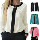 Women Ladies Crew Neck Chiffon Long Sleeve Loose Casual T Shirt Tops Blouse LAUS