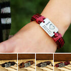 New Men's Women Vintage I Love JESUS Bangle Leather Bracelet MI
