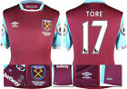 16 / 17 - UMBRO WEST HAM UNITED HOME SHIRT SS + PATCHES TORE 17 = KIDS SIZE