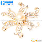 9-10mm Freshwater Pearl Brooch Yellow Gold Plated Starfish Shape Jewelry 48mm