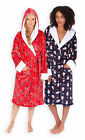 Ladies Christmas Dressing Gown New Womens Red Navy Snowman Xmas Bathrobe UK 8-22