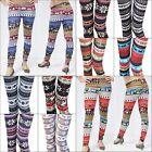 Damen Winter Leggings Norweger Leggins Stretch S/M Weihnachtsmotiv X-Mas