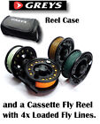 Greys Reel Case with KLA78 Fly Reel & 4x Loaded Lines Float/Int/Sink + FAST SINK