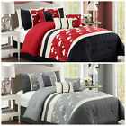 Chezmoi Collection 7p Chenille Poppy Flowers Pleated Embroidery Comforter Set image