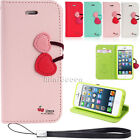 Double Cherry Button Flip Stand Leather Wallet Case For Apple iPhone 6 Plus 5s 6