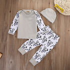 3x Newborn Girl Boy Top Shirt Deer Pants Leggings Hat Baby Outfit Set Xmas Gift