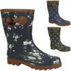 WOMENS LADIES FLOWER FLAT GRIP SOLE ANKLE WINTER WELLIES WELLINGTON BOOTS SIZE