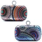 New Women's Rhinestone Ring Sequin Peacock Clutch Evening Party Handbag Bag