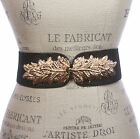 "2 3/4"" Leaf Hook buckle High Waist Glitter Stretch Belt"