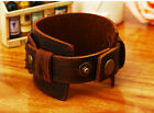 Unisex Women Men Top Leather Handmade Punk Bracelet Genuine Leather Wristband