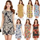 Summer Womens Casual Floral Short Sleeve Cocktail Party Beach Mini Short Dress