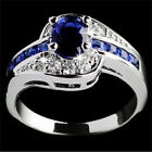 Women Blue Sapphire White Gold Filled Engagement Ring Size 7 8 9 Rings JewelryLA