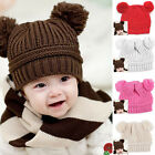 1PC Colorful Cute Baby Kids Girls Boys Double Ball Winter Beanie Hat Earmuffs