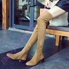 British Womens Cuban Heel Pointy Toe Over Knee High Boots Side Zip Faux Suede