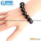 "Handmade Natural Black Onyx Agate Beaded Stretchy Bracelet 7 1/2"" Christmas Gift"