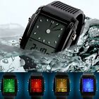 Multicolor LED Silicone Digital Analog Dual Time Alarm Waterproof Army Watch New