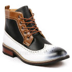 Metrocharm Men's Lace Up Wing Tip Military Formal Dress Casual Ankle Boots