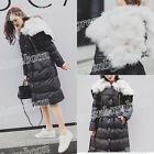 Winter Women's Duck Down Coat Lace Up Single-breasted Real Fox Fur Collar Jacket