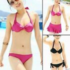 Bikini 3pcs Swimsuit Halter Top Bottom Shorts Mini Skirt  Underwire Push-up 1KS