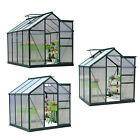 6x4/6/8x7FT Greenhouse Aluminum Frame Walk-In Outdoor Plant Garden Polycarbonate